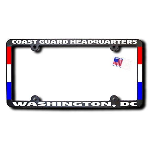 (COAST GUARD HEADQUARTERS - WASHINGTON, DC License Frame w/Reflective Text & Ribbons)