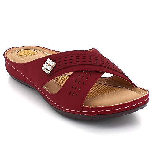 Ponerse Verano Día Cada Plano Tamaño Talon Punta Casual Marrón Abierta Señoras Ligero Zapatos Comodidad Mujer Sandalias XFPqRR