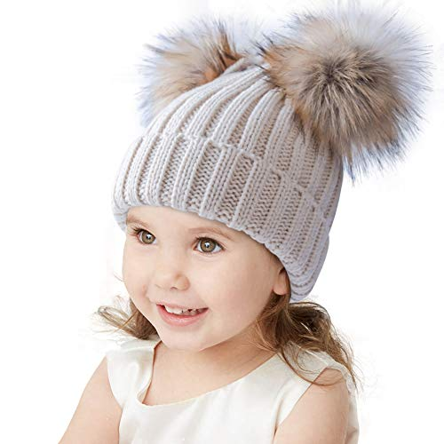 Age 3-7 Luyee Kids Winter Hat Toddler Thick Warm Beanie with Knitted Pom Pom Ears Chunky Cold Weather Hat for Boys Girls