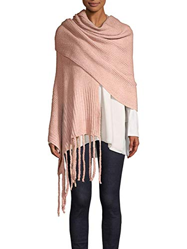 - Free People Jaden Ribbed Fringe Blanket Scarf Shawl (Pink)