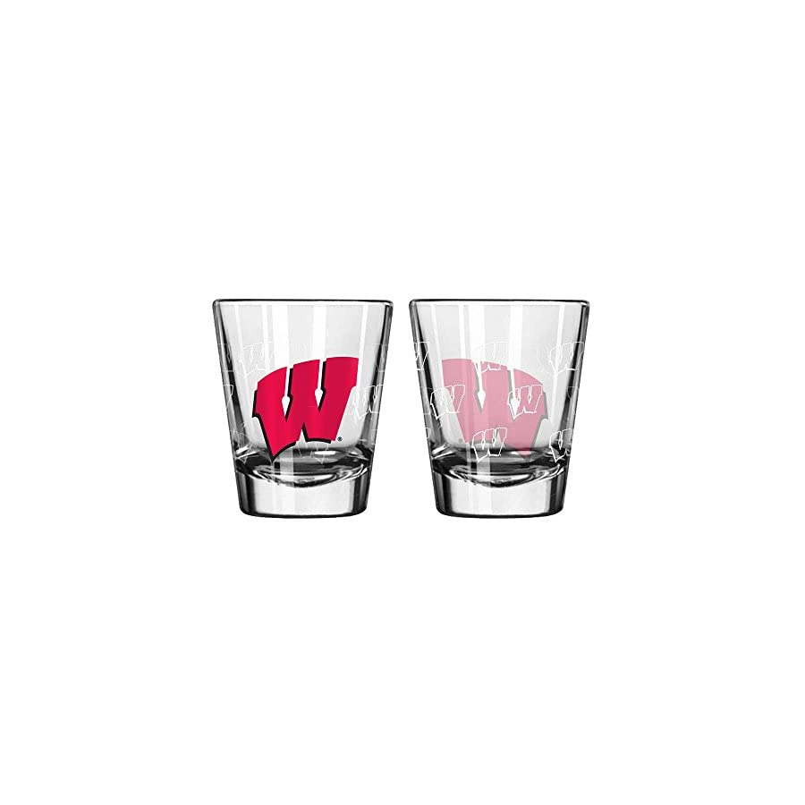 Wisconsin Badgers Shot Glass 2 Pack Satin Etch