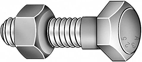 Plain Finish 6L A325 Type 1 70 PK 1-1//4-7 Steel Structural Bolt with Nut