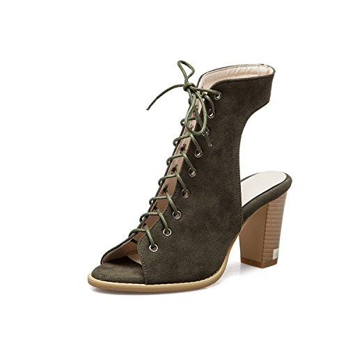 Faux Lace Up Women's Toe Suede Open Heels Green Pumps Army Stacked Odetina Slingback Sexy nYWp5waaq
