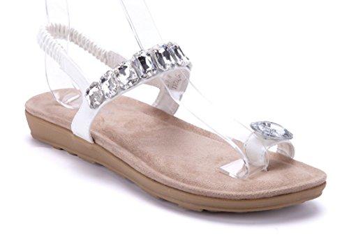 Schuhtempel24 Damen Schuhe Zehentrenner Sandalen Sandaletten Bronze Flach Blumenapplikation/Ziersteine 3E388tH6