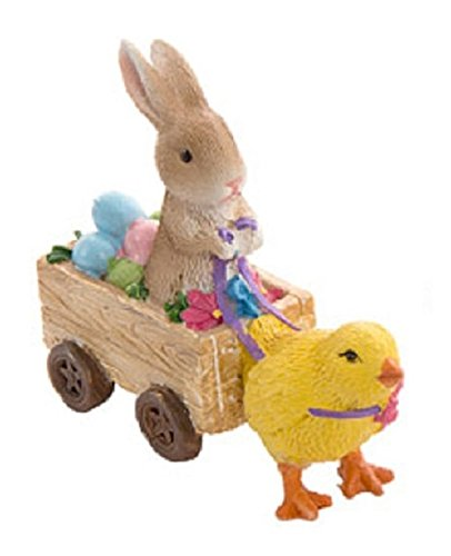 Darice Miniature Spring Fairy Garden Figurines: Rabbit in Cart w/Yellow Chick, Resin, Multicolored, 1 figurine per package (Brown Bunny)