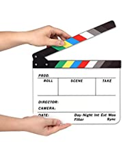 AFAITH® Professional Studio Camera Photography Video Acrylic Dry Erase Director Film Clapboard Clapperboard (9.85x11.8 inch) with Color Sticks SA009