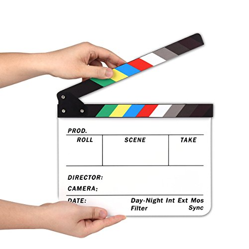 AFAITH Professional Studio Camera Photography Video Acrylic Dry Erase Director Film Clapboard Clapperboard (9.85×11.8 inch) with Color Sticks SA009