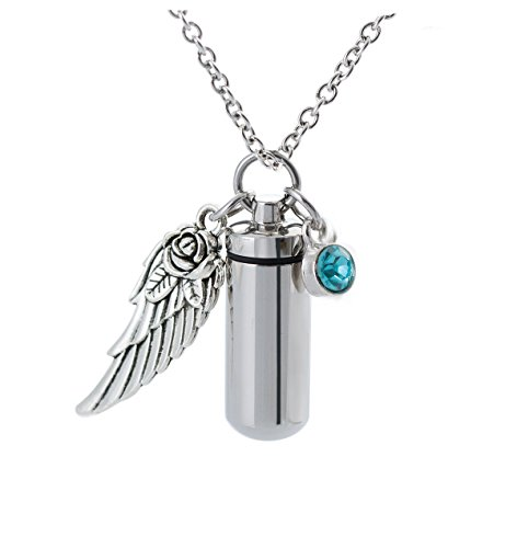 Cremation Cylinder Urn Jewelry Birthstone&Angel Wing Charm Necklace Keeapsake Ash Memorial Locket - 013 Pill