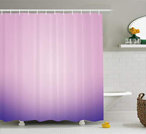Ambesonne Lavender Shower Curtain, Pink and Purple Ombre Print Modern Pastel Color Gradient Design Digital Art, Cloth Fabric Bathroom Decor Set with Hooks, 70