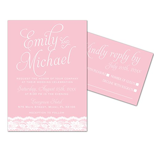100 Wedding Invitations Pink Lace Design + Envelopes + Response Cards Set by Pink The Cat