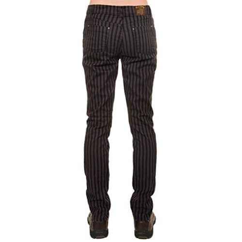 """NEW WOMENS SKINNY STRETCH MID RISE BLACK AND GREY 1/"""" STRIPE JEANS INDIE RETRO"""