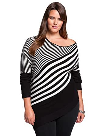 eloquii Mixed Stripe Tunic Women's Plus Size Black & White 22/24