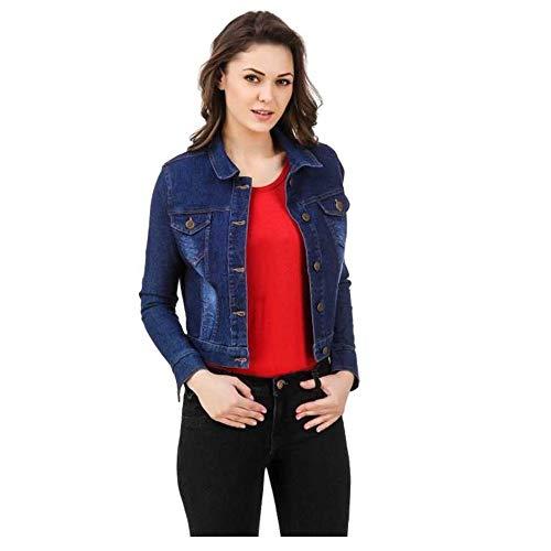 MONTREZ Denim Full Sleeves Comfort Fit Regular Collar Blue Jacket for Women