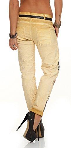 ZARMEXX 10912 mujeres pantalones holgados del novio Jeans Jeggings Stretch Chino cinturón de mariposa de la letra -Imprimir amarillo