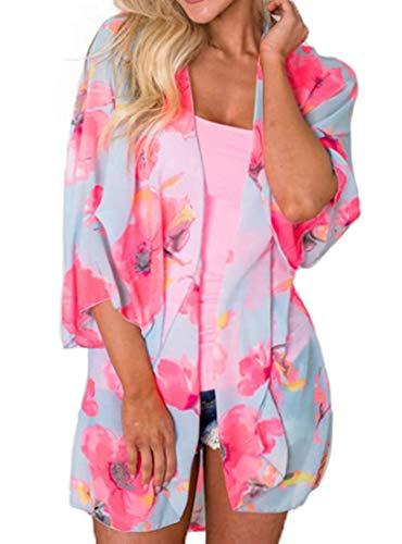 DREAGAL Women's 3/4 Sleeve Printed Kimono Sheer Chiffon Loose Cardigan 15-Rose Red L