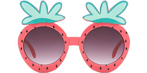modesoda Girl Classic Round Lens Sunglasses with Strawberry Frame for Infant and Age 0-3 - Strawberry Sunglasses