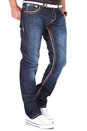 Elaborazione A Altamente J9148 Contrasto pocket Distrutto Tubo Decorative Gamba Jeans Modello Stile Dettagliato Uomo 5 Scuro Blu wash Merish BS6YRAW