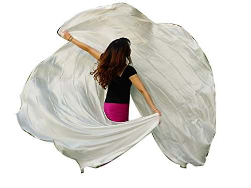 Rolled Edge Veil - Winged Sirenny 2pcs Half Circle Belly Dance 8 mommes Double Veils, 2.7mx1.1m(3'x43