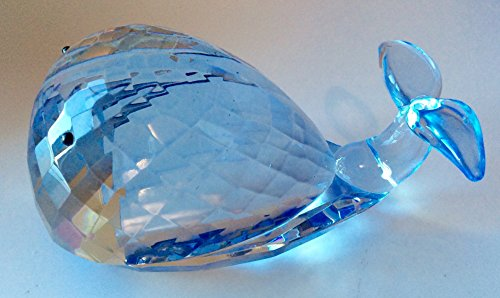 Oleg Cassini Crystal Pastel Blue Whale Paperweight