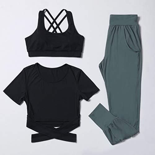 YANXIH 女性のヨガセットジムスポーツアンダーウェア&Tシャツ&パンツランニングパンツ3ピースの服のトラックスーツセット (Color : T3, Size : XL)