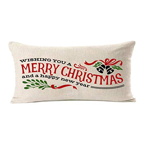 MFGNEH Wishing You A Merry Christmas and A Happy New Year Cotton Linen Funny Christmas Quotes Pillow Covers 12x20 Inch Christmas Decorations Throw Pillow Cover Cushion Case for Sofa Couch (Quotes Christmas Merry Wishing)