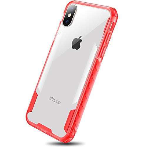 DAUPIN for iPhone Xs Case iPhone X Case, Heavy Duty TPU Shatterproof Bumper Edges Crystal Clear Hard PC Back Cover for Women Apple iPhone Xs/X Clear+Red