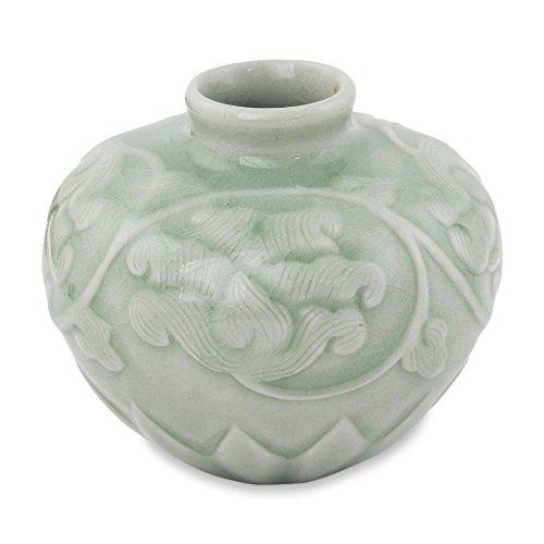 NOVICA 241595 Celadon Ceramic Petite vase 'Voluptuous - Ceramic Vase Celadon
