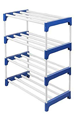 Raj Enterprises Metal Shoe Stand Metal Collapsible Shoe Stand  Blue, 4 Shelves