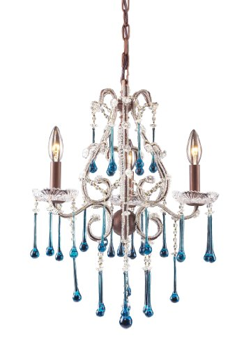 Elk 4011/3AQ 3-Light Chandelier in Rust and Aqua Crystal