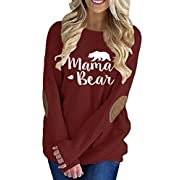 Pink Queen Womens Wine Red Long Sleeve Mother Bear Printing Blouse Top Ruby 2XL