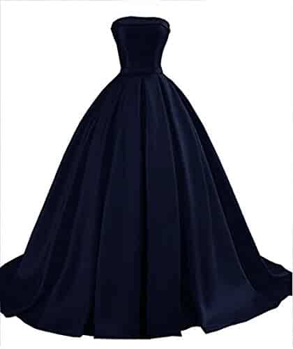 3856ffc426a2b VikDressy Women's Strapless Satin Prom Dresses 2018 Long Formal Ball Gowns