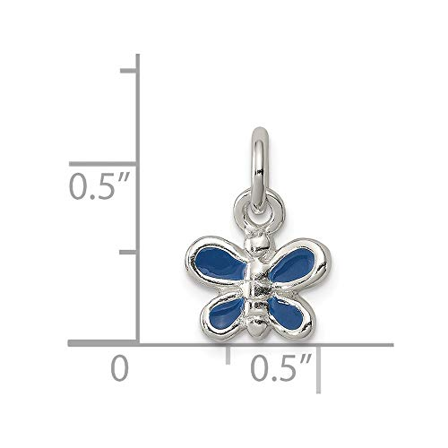 Sterling Silver Enameled Blue Butterfly Charm (0.5IN long x 0.4IN wide)