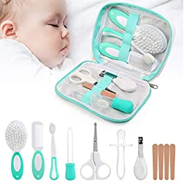 LinStyle Baby Health Care Kit, Baby Grooming Kit, Newborn Baby Care Accessories, 8 PCS Essential Baby Care Items for Travelling & Home Use with Manicure Set