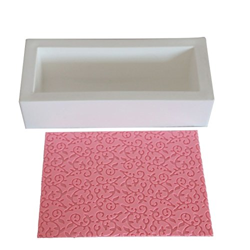 DIY 2Pcs/Lot Flowers Textured Silicone Lace Mat Rectangle Mousse Fondant Molds Cake Bread Pan Kitchen Baking Decorating Tools by Tony KitcheN ,Dining & Bar AccessorieS 888