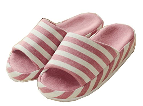 Pantofole Bianche Di Pantofole Delle Pantofole Di Lino Delle Donne Aperte Dei Blubi Delle Strisce Bianche Di Rosa