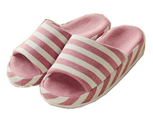 Blubi Womens Open Toe Stripes Household Slippers Flax Slippers Pink White Stripes NXhDmYh7Jo