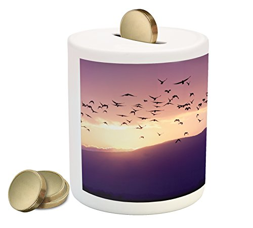 Lunarable Birds Piggy Bank, Flock of Flying to The Sunset Above The Golan Heights Northern Israel, Printed Ceramic Coin Bank Money Box for Cash Saving, Purple Lavender Yellow (Set Bird Coin)