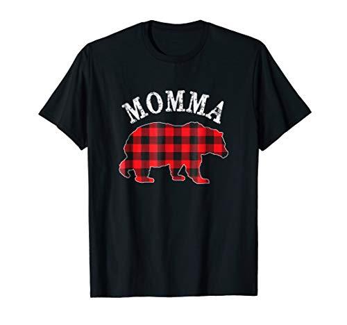 Red Plaid Momma Bear Matching Buffalo Pajama Shirt