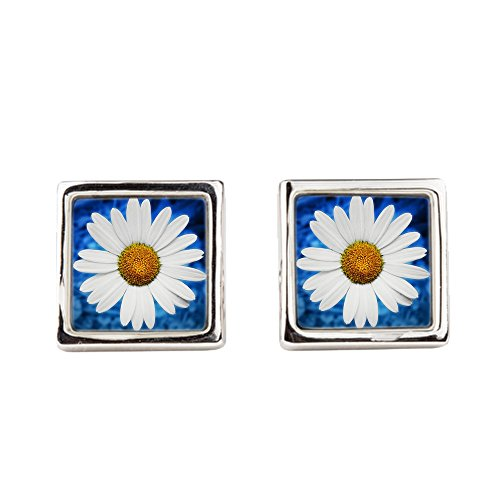 Cufflinks Round Smiley Face Daisy Flower