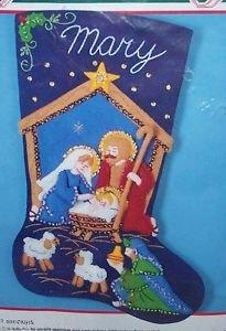Bucilla Holy Nativity Felt Stocking - Nativity Applique
