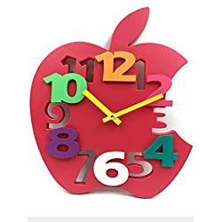 Hippih Mute 3D Apple Shaped Wall Clock with Plastic Material for Home decor(Red)