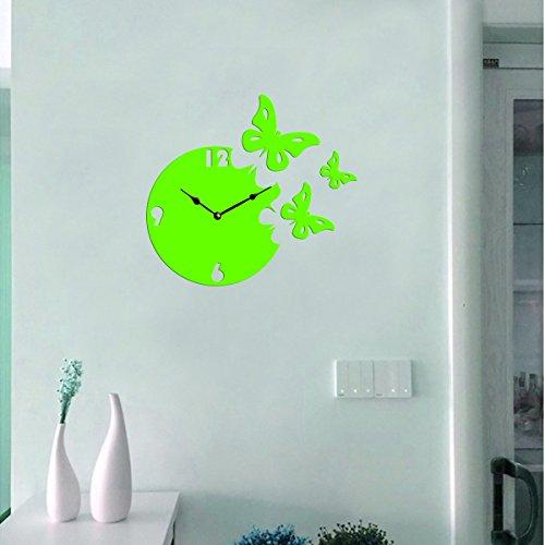 Sehaz Artworks 'Moon Butterfly' Asymmetric Wood Wall Clock (27 cm x 27 cm x 4 cm, Green)