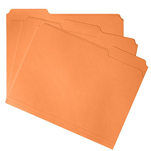 File Folder, 1/3 Cut Tab, Letter Size, Orange, Great for organizing and Easy File Storage, 100 Per Box
