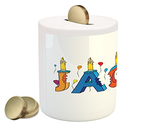 Ambesonne Jacob Coin Box Bank, Cartoon Colorful Festive Letters Spelling Male Name Surprise Birthday Party Kids, Printed Ceramic Coin Bank Money Box for Cash Saving, Multicolor by Ambesonne