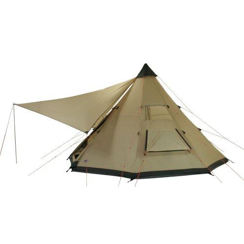 10T Camping-Zelt Shoshone 500 Tipi mit Schlafbereich für 5 - 10 Personen Outdoor Idianerzelt Familienzelt mit Wohnraum, Sonnensegel, eingenähte Bodenwanne, wasserdichtes Pyramidenzelt mit 5000mm Wasse