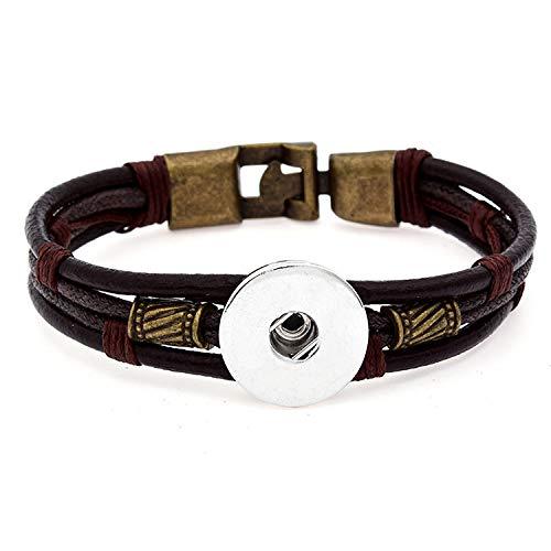 - DIY 1pcs Charm Handmade Leather Bracelet for Noosa Snaps Chunk Button A101
