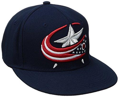fan products of NHL Columbus Blue Jackets Men's SP17 Oversized Logo Flat Visor Flex Cap, Navy, Small/Medium