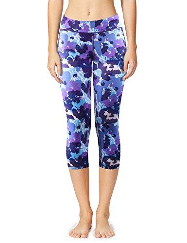Baleaf Women's Yoga Leggings Printed Tummy Control Capri Workout Pants Hidden Pocket Floral Purple Size XS