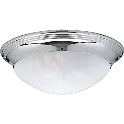 Progress Lighting P3689-15 2-Light Close-To-Ceiling Fixture with Etched Alabaster Style Twist On Glass, Polished Chrome
