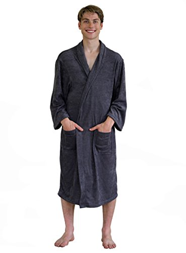 Men's Terry Cloth Robe, Lightweight Cotton Shower Long Bathrobe for Travel or Spa (Large/X-Large, Grey)